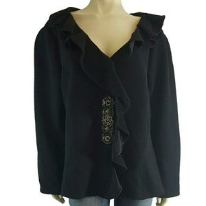 Teri Jon Rickie Freeman 22W Jeweled Ruffled Jacket